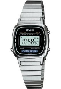 Relógio Casio Feminino Vintage La670Wa-1Df - Feminino-Prata+Preto