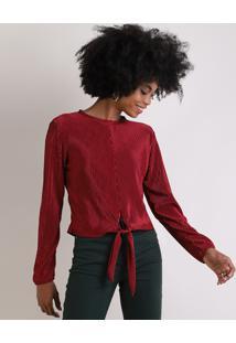Blusa Feminina Acetinada Plissada Com Nó Manga Longa Decote Redondo Vermelha Escuro