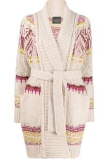Roberto Collina Patterned-Knit Belted Cardigan - Neutro