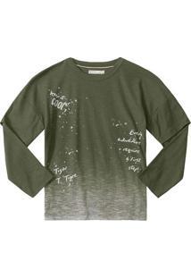 Camiseta Manga Longa Em Flam㪠Com Recortes- Verde Militalilica Ripilica E Tigor T. Tigre