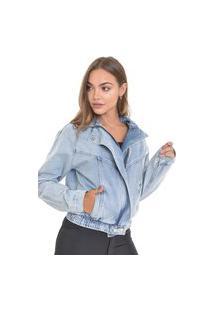 Jaqueta Jeans Dialogo Delavê Com Zíper Frontal E Bolso Embutido