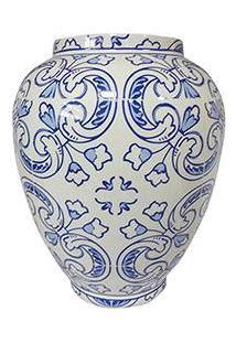 Vaso Decorativo Cerâmica Dedal Indigo Hidraulic Tile Urban Azul - 25X20X20Cm