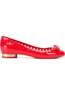Salvatore Ferragamo Cut Out Ballerina Shoes - Vermelho