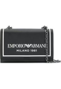 Emporio Armani Logo Print Shoulder Bag - Preto