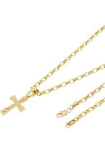 Pingente Cruz Frisada Com Corrente Francesatudo Joias Folheado A Ouro 18K Dourada