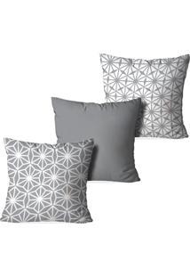 Kit 3 Capas Para Almofadas Decorativas Love Decor Geometrico Cinza - Kanui