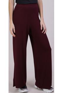 Calça Feminina Pantalona Canelada Com Bolsos Vinho