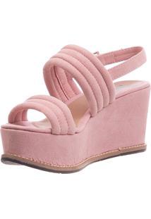 Sandália Plataforma Butique De Sapatos Em Suede Rosa