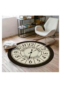 Tapete Redondo Wevans Relógio Bistrot De Paris 84Cm