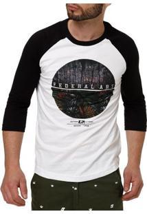 Camiseta Manga 3/4 Masculina Federal Art Branco/Preto