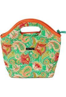 Bolsa Ana Viegas Handbag Tecido Mão Forro Impermeável Prática Feminina - Feminino-Verde