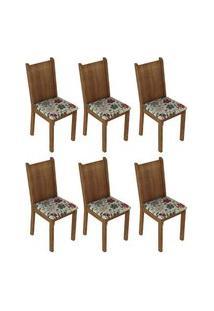 Kit 6 Cadeiras 4290 Madesa Rustic/Hibiscos Rustic