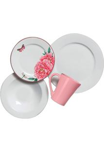 Aparelho De Jantar Concept Em Cerâmica Com 16 Peças Branco E Rosa