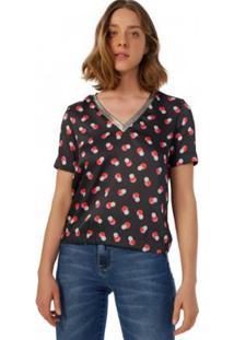 Camiseta Amaro De Crepe Com Gola Foil Feminina - Feminino