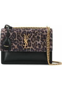 Saint Laurent Bolsa Sunset Média Com Estampa De Leopardo - Preto