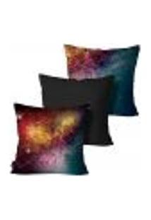 Kit Com 3 Capas Para Almofada Galaxia 45X45Cm Colorido