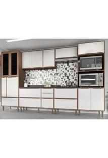 Cozinha Completa 7 Peças Calábria Snow Nogueira/Branco Com Tampos