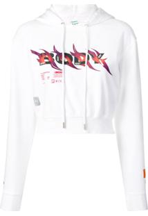 Heron Preston Moletom Cropped Com Estampa E Capuz - Branco