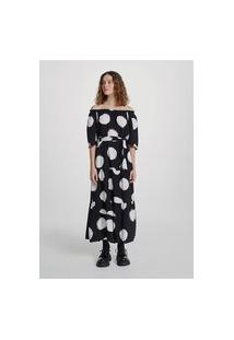 Vestido Midi Em Tecido De Viscose Animal Print