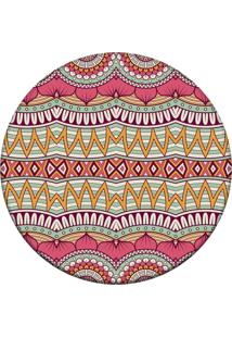 Tapete Love Decor Redondo Wevans Mandala Abstrato Rosa 84Cm