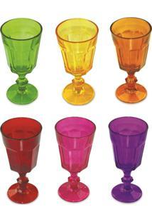 Conjunto De 06 Taças Para Sorvete, Sobremesa, Agua - Coloridas