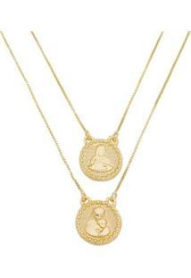 Escapulário Nossa Senhora Diamantado Tudo Joias Folheado A Ouro 18K - Masculino-Dourado