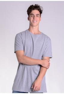 Camiseta Básica Alongada Cinza Mescla