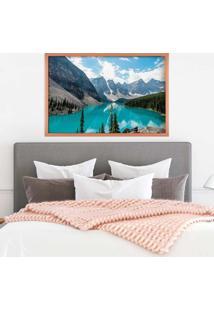 Quadro Love Decor Com Moldura Lago Azul Rose Metalizado Grande