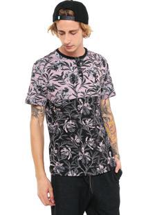 Camiseta Mcd Wilk Flowers Rosa/Preta