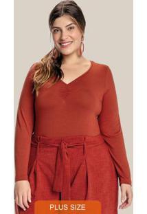 Blusa Plus Size Decote V Drapeado Marrom