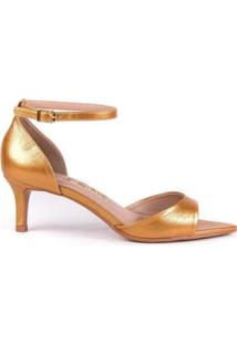 Sandália Salto Baixo L'Atelier Michely Napa Feminina - Feminino-Dourado