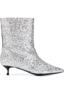 Msgm Ankle Boot Com Brilho - Prateado