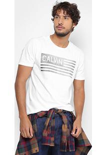 Camiseta Calvin Klein Ck Bandeira Masculina - Masculino-Branco
