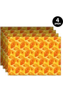 Jogo Americano Mdecore Geométrico 40X28Cm Laranja 4Pçs