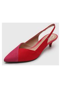 Scarpin Dumond Bicolor Rosa/Vermelho