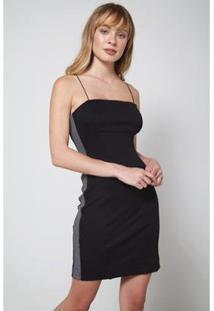 Vestido Oh,Boy! Curto Recorte Lurex Feminino - Feminino-Preto