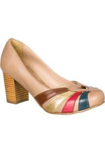 Sapato Boneca Retro Malbork Em Couro Salto 7Cm - Feminino-Bege