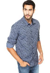 Camisa Sommer Straight Basic Flor Azul