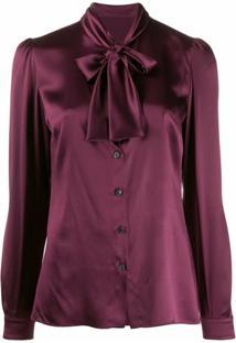 Dolce & Gabbana Blusa De Cetim Com Amarração - Roxo