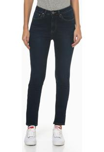 Calça Jeans Five Pockets High Rise Slim - Azul Marinho - 34