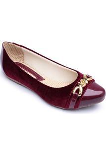 Sapatilha Top Franca Shoes Verniz Feminina - Feminino-Vinho