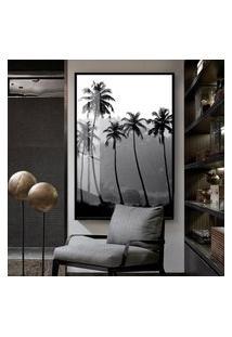 Quadro 150X100Cm Paisagem Palmeiras Preto Branco Vidro Cristal E Moldura Preta Decorativo Interiores - Oppen House