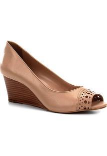 Peep Toe Anabela Shoestock Couro Laser - Feminino-Bege
