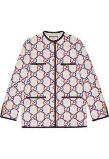 Gucci Cardigan Oversized Sylvie De Tweed Com Gg - Branco
