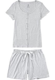 Pijama Mescla Mescla Listrado Em Viscose