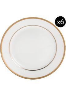 Jogo De Pratos De Sobremesa De Porcelana- Branco & Dourawolff