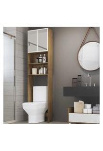 Armário De Banheiro Para Vaso Sanitário Com Espelho E 2 Portas Multimóveis Rustic/Branco