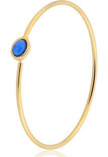 Pulseira Toque De Joia Bracelete Oval Azul Dourado