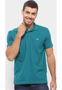 Camisa Polo Cavalera Piquet Básica Lisa Masculina - Masculino-Verde