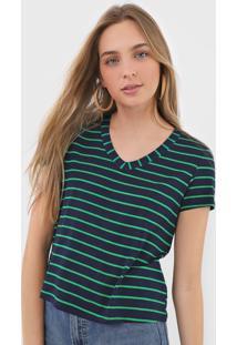 Blusa Malwee Listrada Azul-Marinho/Verde